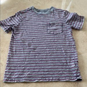 Boys gray and burgundy striped T shirt